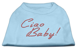 Ciao Baby Rhinestone Shirts Baby Blue-Dog Clothing-Bella's PetStor