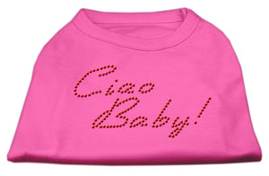 Ciao Baby Rhinestone Shirts Bright Pink-Dog Clothing-Bella's PetStor