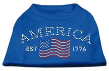 Load image into Gallery viewer, Classic American Rhinestone Shirts Blue-Dog Clothing-Bella's PetStor