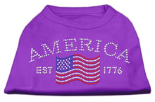 Load image into Gallery viewer, Classic American Rhinestone Shirts Purple-Dog Clothing-Bella's PetStor