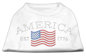 Classic American Rhinestone Shirts White-Dog Clothing-Bella's PetStor