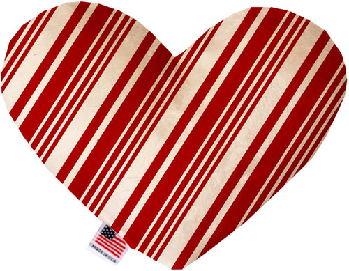 Classic Candy Cane Stripes Inch Canvas Heart Dog Toy-Made in the USA-Bella's PetStor