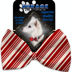 Classic Candy Cane Stripes Pet Bow Tie Collar Accessory With Velcro-Bow Ties-Bella's PetStor