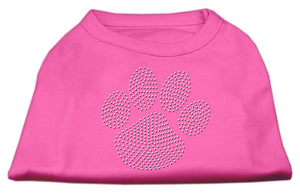 Clear Rhinestone Paw Shirts Bright Pink-Dog Clothing-Bella's PetStor