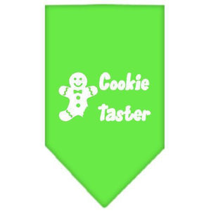 Cookie Taster Screen Print Bandana Lime Green Large-cookie taster screen print bandana holiday pet products-Bella's PetStor