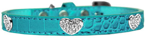 Croc Crystal Heart Dog Collar Size-Faux Croc Collection-Bella's PetStor
