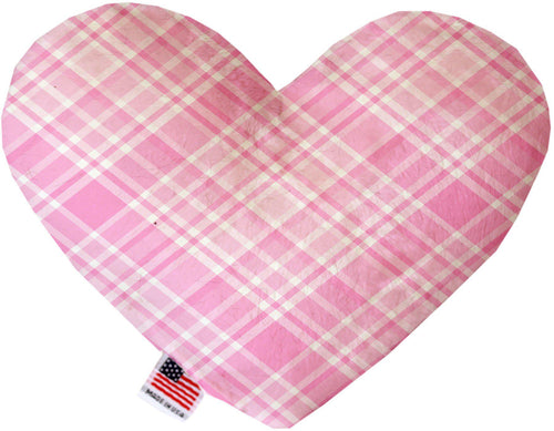 Cupid Pink Plaid Stuffing Free Inch Heart Dog Toy-Valentines-Bella's PetStor