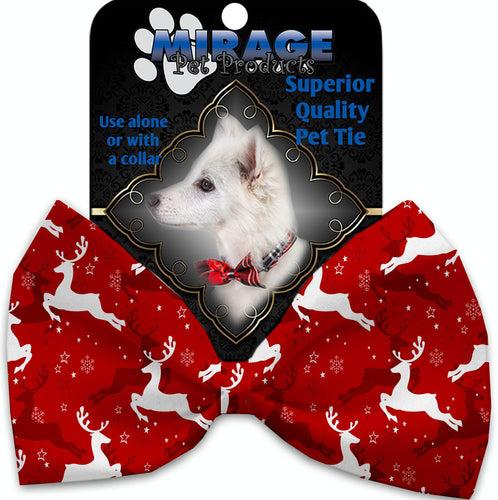 Dancing Reindeer Pet Bow Tie Collar Accessory With Velcro-Bow Ties-Bella's PetStor