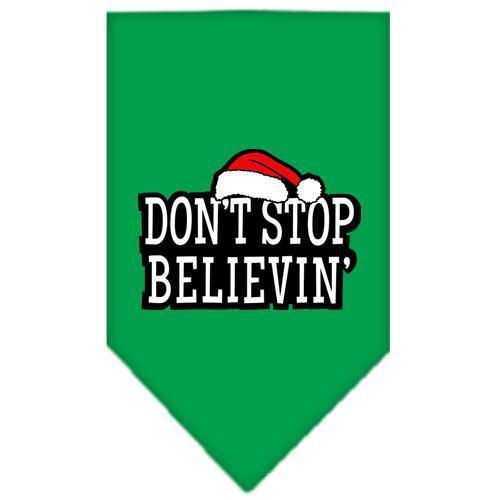 Dont Stop Believin Screen Print Bandana Emerald Green Large-dont stop believin screen print bandana holiday pet products-Bella's PetStor
