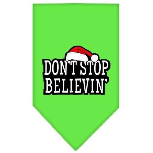 Dont Stop Believin Screen Print Bandana Lime Green Large-dont stop believin screen print bandana holiday pet products-Bella's PetStor