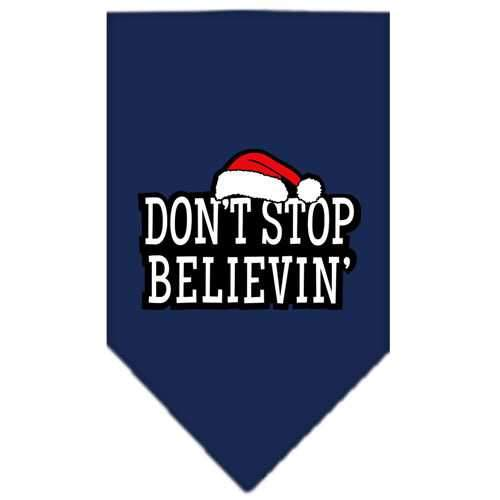 Dont Stop Believin Screen Print Bandana Navy Blue large-dont stop believin screen print bandana holiday pet products-Bella's PetStor