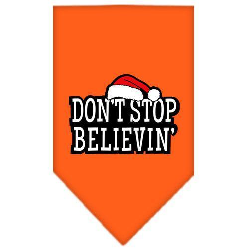 Dont Stop Believin Screen Print Bandana Orange Small-dont stop believin screen print bandana holiday pet products-Bella's PetStor