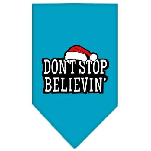 Dont Stop Believin Screen Print Bandana Turquoise Large-dont stop believin screen print bandana holiday pet products-Bella's PetStor