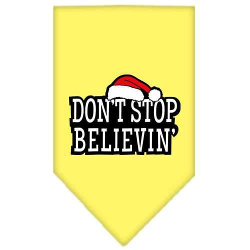 Dont Stop Believin Screen Print Bandana Yellow Small-dont stop believin screen print bandana holiday pet products-Bella's PetStor