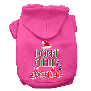 Don't Tell Santa Screen Print Dog Hoodie-Dog Clothing-Bella's PetStor