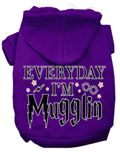 Everyday I'm Mugglin Screen Print Dog Hoodie-Dog Clothing-Bella's PetStor