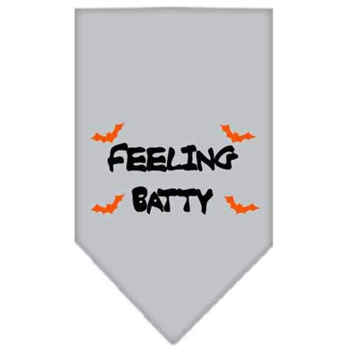 Feeling Batty Screen Print Bandana Grey Large-feeling batty screen print bandana holiday pet products-Bella's PetStor