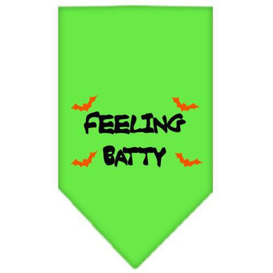 Feeling Batty Screen Print Bandana Lime Green Large-feeling batty screen print bandana holiday pet products-Bella's PetStor