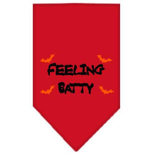 Feeling Batty Screen Print Bandana Red Large-feeling batty screen print bandana holiday pet products-Bella's PetStor