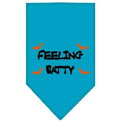 Feeling Batty Screen Print Bandana Turquoise Small-feeling batty screen print bandana holiday pet products-Bella's PetStor