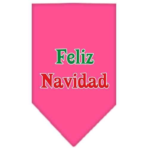 Feliz Navidad Screen Print Bandana Bright Pink Small-feliz navidad screen print bandana holiday pet products-Bella's PetStor