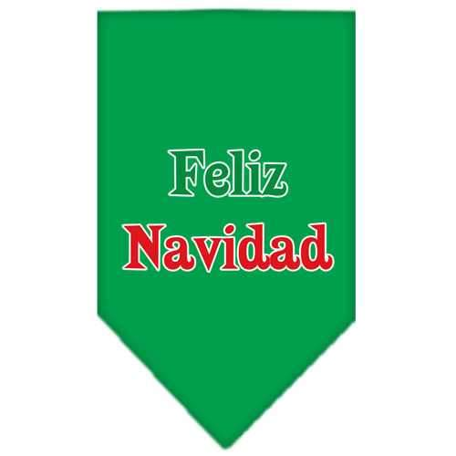 Feliz Navidad Screen Print Bandana Emerald Green Large-feliz navidad screen print bandana holiday pet products-Bella's PetStor