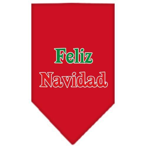 Feliz Navidad Screen Print Bandana Red Small-feliz navidad screen print bandana holiday pet products-Bella's PetStor