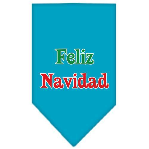 Feliz Navidad Screen Print Bandana Turquoise Large-feliz navidad screen print bandana holiday pet products-Bella's PetStor