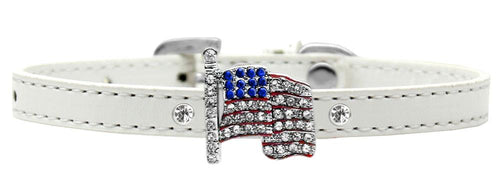Flag Charm Dog Collar White Size-More-Bella's PetStor