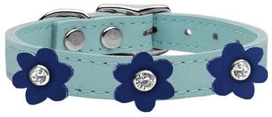 Flower Leather Collar Baby Blue With Flowers Size-Dog Collars-Bella's PetStor