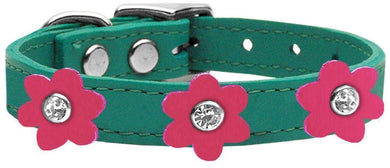 Flower Leather Collar Jade With Pink Flowers Size-Dog Collars-Bella's PetStor