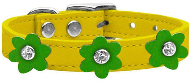 Flower Leather Collar Yellow With Flowers Size-Dog Collars-Bella's PetStor
