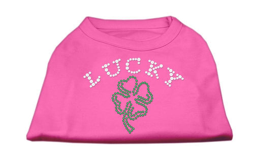 Four Leaf Clover Outline Rhinestone Shirts Bright Pink-Dog Clothing-Bella's PetStor