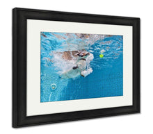 Load image into Gallery viewer, Framed Print, Playful Jack Russell Terrier Puppy in Swimming Pool-Framed Print-Bella's PetStor