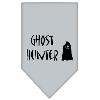 Ghost Hunter Screen Print Bandana Grey Small-ghost hunter screen print bandana holiday pet products-Bella's PetStor