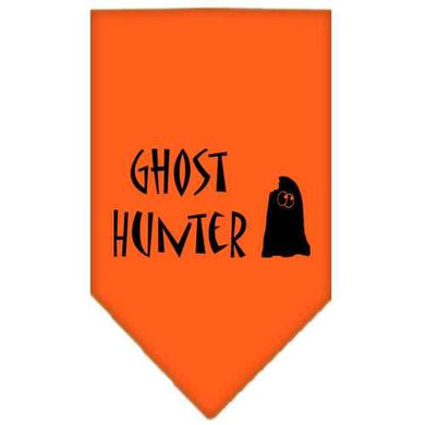 Ghost Hunter Screen Print Bandana Orange Large-ghost hunter screen print bandana holiday pet products-Bella's PetStor
