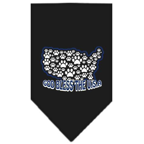God Bless USA Screen Print Bandana Black Large-god bless usa screen print bandana patriotic pet supplies-Bella's PetStor