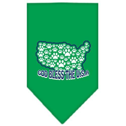 God Bless USA Screen Print Bandana Emerald Green Large-god bless usa screen print bandana patriotic pet supplies-Bella's PetStor