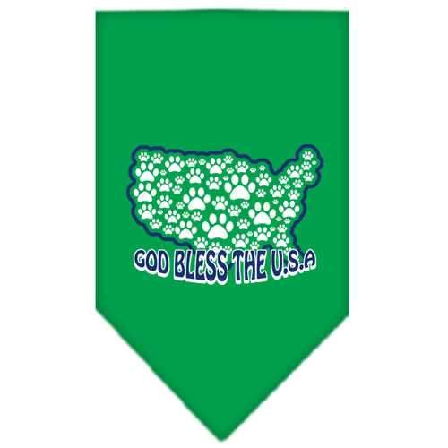 God Bless USA Screen Print Bandana Emerald Green Small-god bless usa screen print bandana patriotic pet supplies-Bella's PetStor