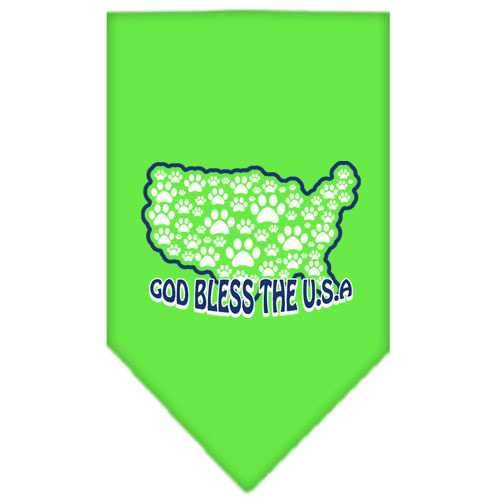 God Bless USA Screen Print Bandana Lime Green Large-god bless usa screen print bandana patriotic pet supplies-Bella's PetStor