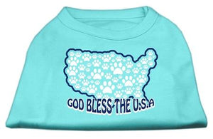 God Bless Usa Screen Print Shirts Aqua-Dog Clothing-Bella's PetStor