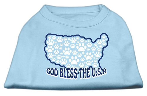 God Bless Usa Screen Print Shirts Baby Blue-Dog Clothing-Bella's PetStor