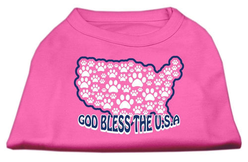 God Bless Usa Screen Print Shirts Bright Pink-Dog Clothing-Bella's PetStor
