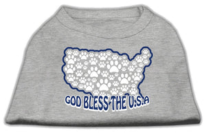 God Bless Usa Screen Print Shirts Grey-Dog Clothing-Bella's PetStor