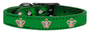 Gold Crown Widget Genuine Metallic Leather Dog Collar-Dog Collars-Bella's PetStor
