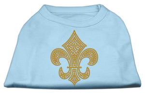 Gold Fleur De Lis Rhinestone Shirts Baby Blue-Dog Clothing-Bella's PetStor