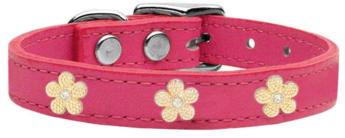 Gold Flower Widget Genuine Leather Dog Collar-Dog Collars-Bella's PetStor