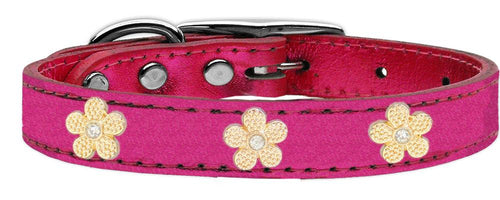 Gold Flower Widget Genuine Metallic Leather Dog Collar-Dog Collars-Bella's PetStor