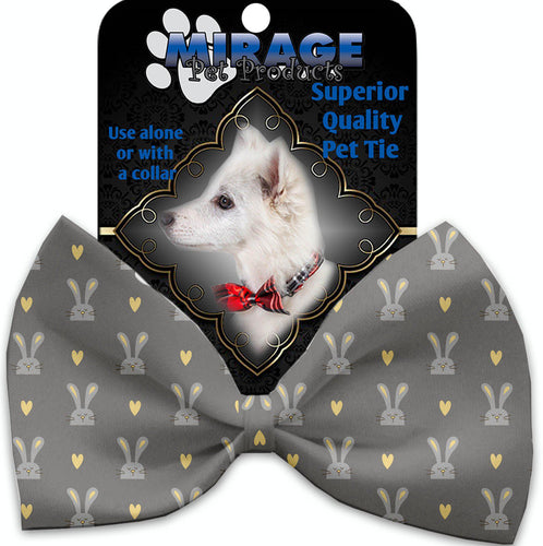 Gray Bunnies Pet Bow Tie Collar Accessory With Velcro-Bow Ties-Bella's PetStor