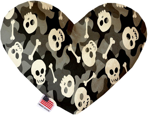 Gray Camo Skulls Inch Canvas Heart Dog Toy-Made in the USA-Bella's PetStor